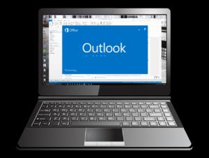Laptop: Newsletter Darstellung in Outlook