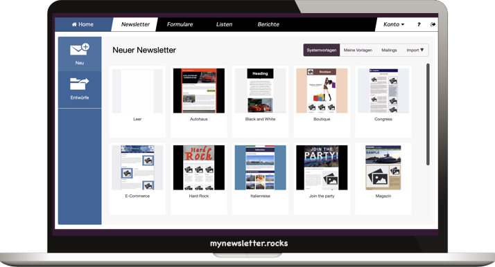 mynewsletter.rocks Email Marketing App Screenshot